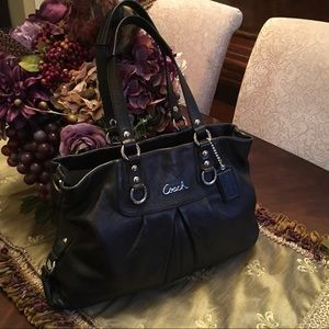 COACH Ashley black leather shoulder bag